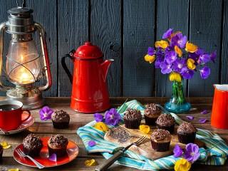 Собирать пазл Chocolate cupcakes онлайн