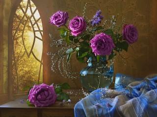 Собирать пазл Lilac roses онлайн