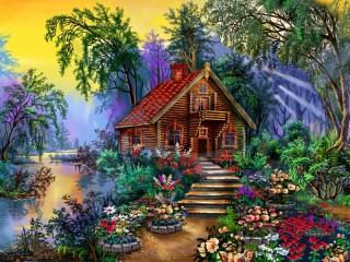Собирать пазл Fairy-tale house онлайн