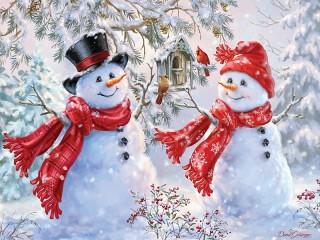 Собирать пазл Snowmen онлайн