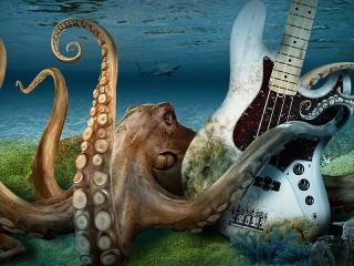 Собирать пазл Octopus with guitar онлайн