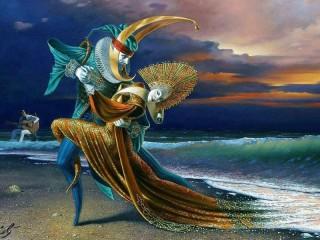 Собирать пазл Tango on the shore онлайн