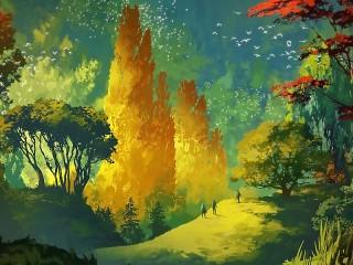 Собирать пазл Three in the autumn forest онлайн