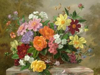 Собирать пазл Flowers in busket онлайн