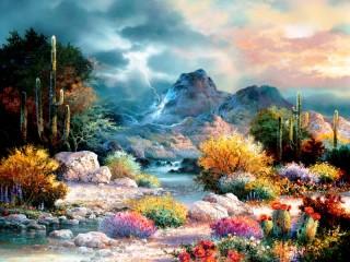 Собирать пазл Cactuses in blossom онлайн