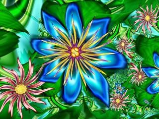 Собирать пазл Blue fractal онлайн