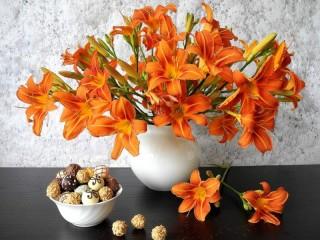 Собирать пазл vaza s liliyami онлайн