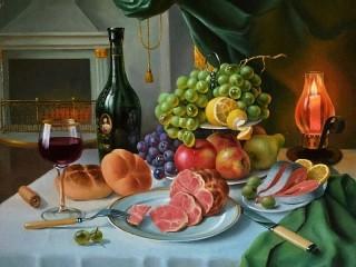 Собирать пазл Wine and fruit онлайн