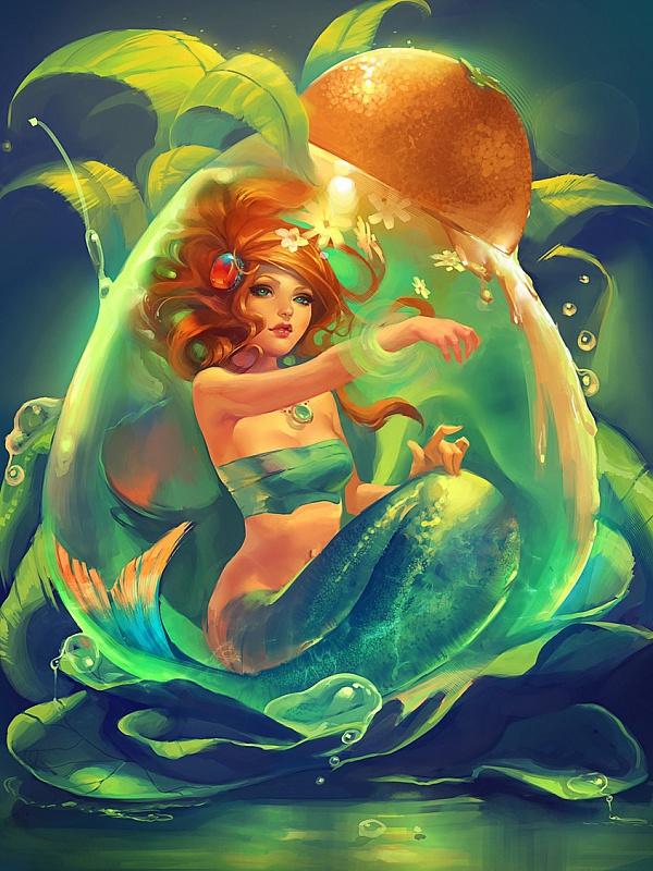 Rompecabezas Recoger rompecabezas en línea - Mermaid in drop
